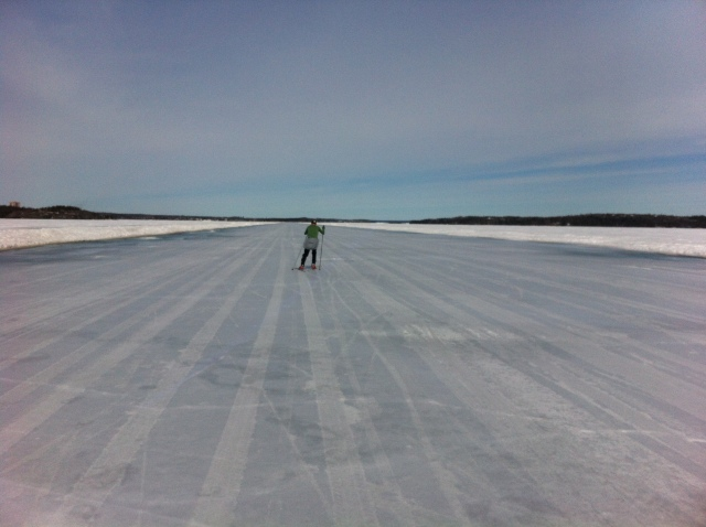 Skate skiing on the ice road, yesterday