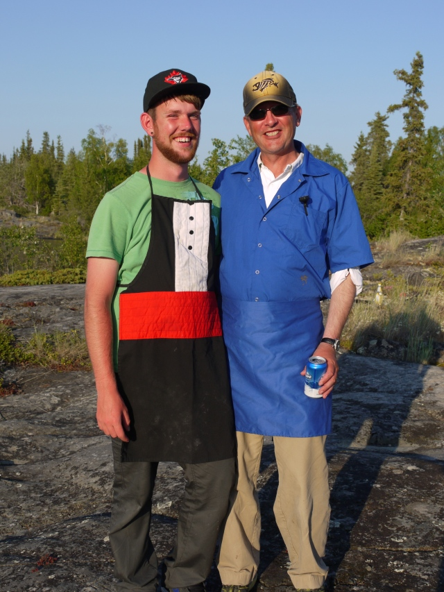 Cook Mike in blue, with Matt