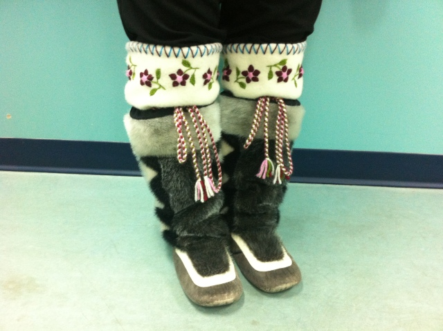 These kamiks are beautiful living artworks, made of sealskin.  Practical and very warm.