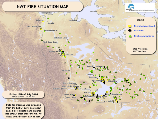 Yesterday's map of active fires across the NT