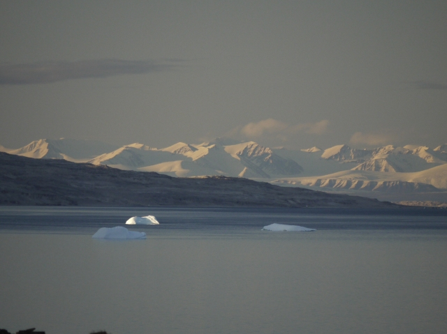 Distant Bylot Island, with icebergs