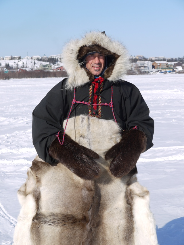 The caribou skin is for sleeping on - incredibly warm