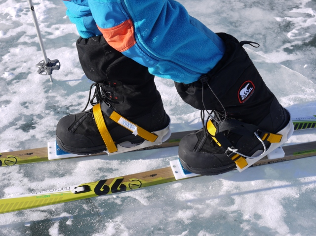 Special ski bindings which you can use with any warm winter boot - much warmer than a ski boot